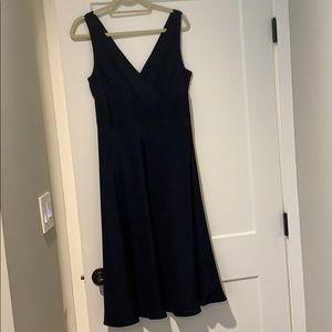 J Crew silk navy blue dress